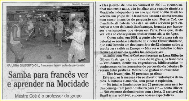 sambatuc, article O Globo